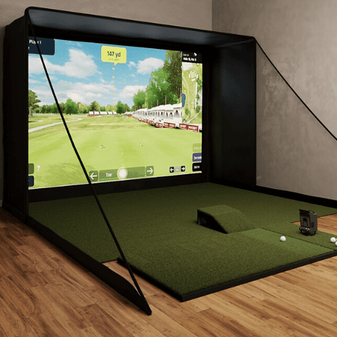 optishot ballflight sig12 golf simulator with 4x7 golf mat