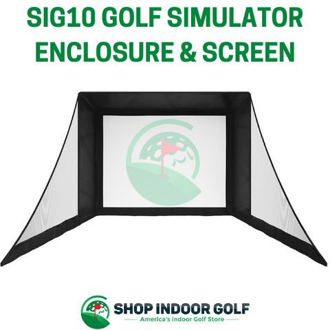 sig12 golf simulator enclosure with side barrier netting