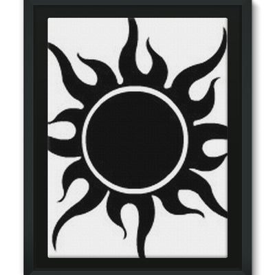 Crazy Desert Black Sun Framed Canvas