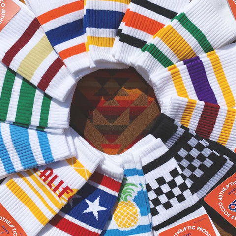 SOCCO socks placed in a wheel pattern to show design variants