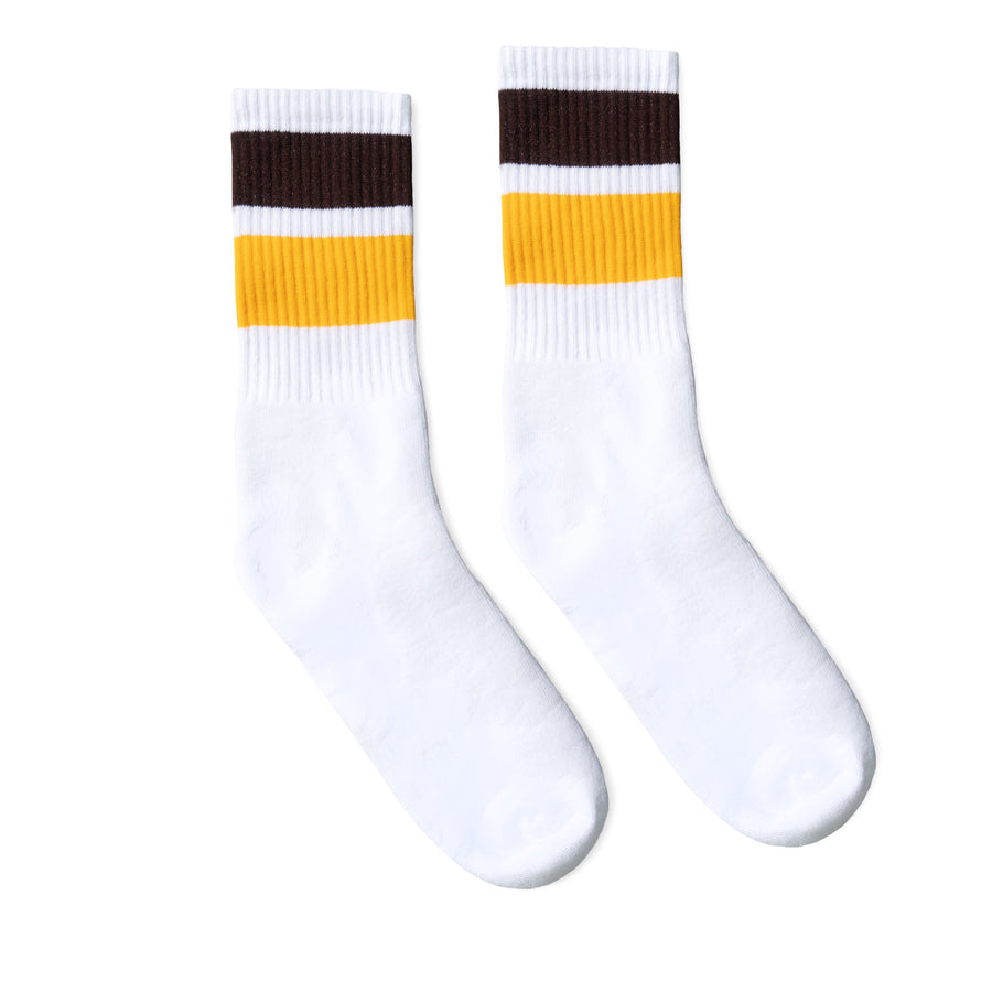 Bold Two Stripe Brown & Gold | White