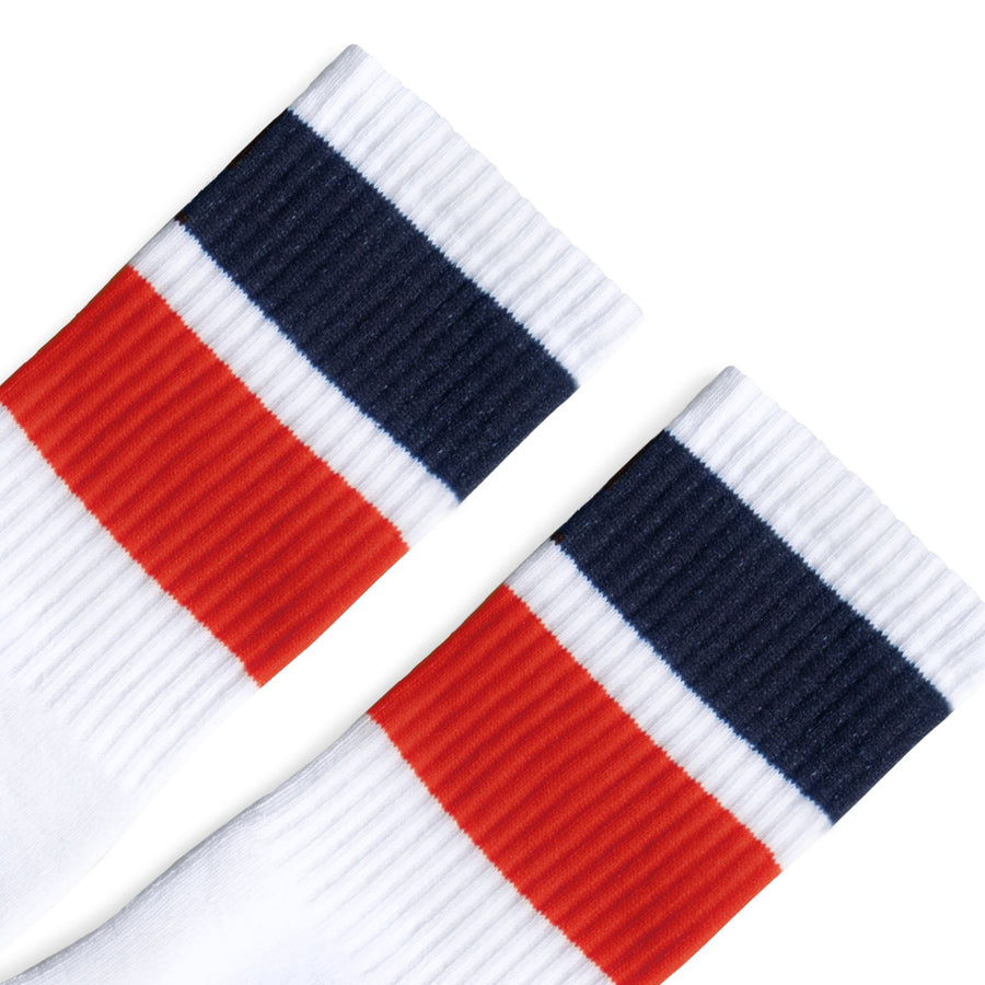 Bold Two Stripe Navy & Red | White
