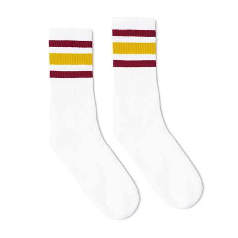Maroon and Vegas Gold Striped Socks