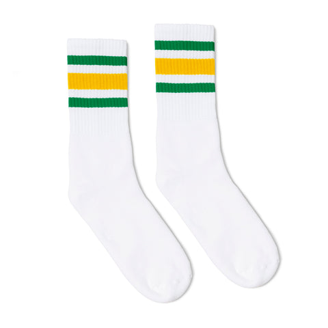 Green and Gold Striped Socks