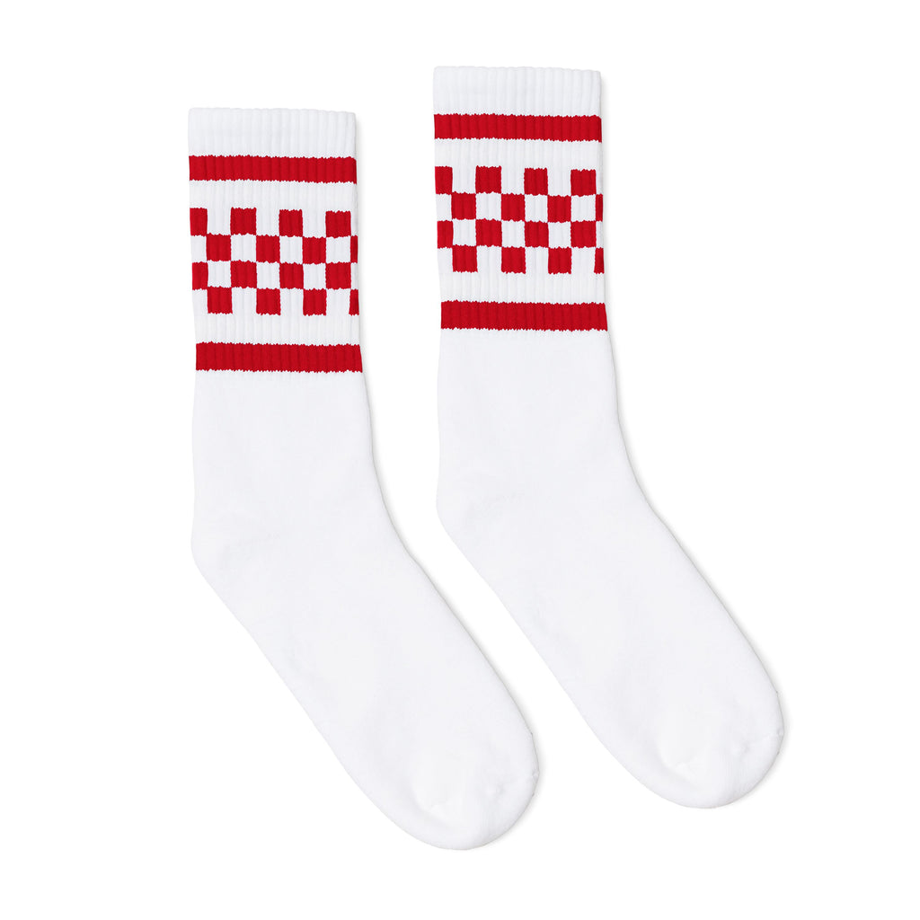 White athletic socks with two red stripes and checkers in between. For men, women and kids.