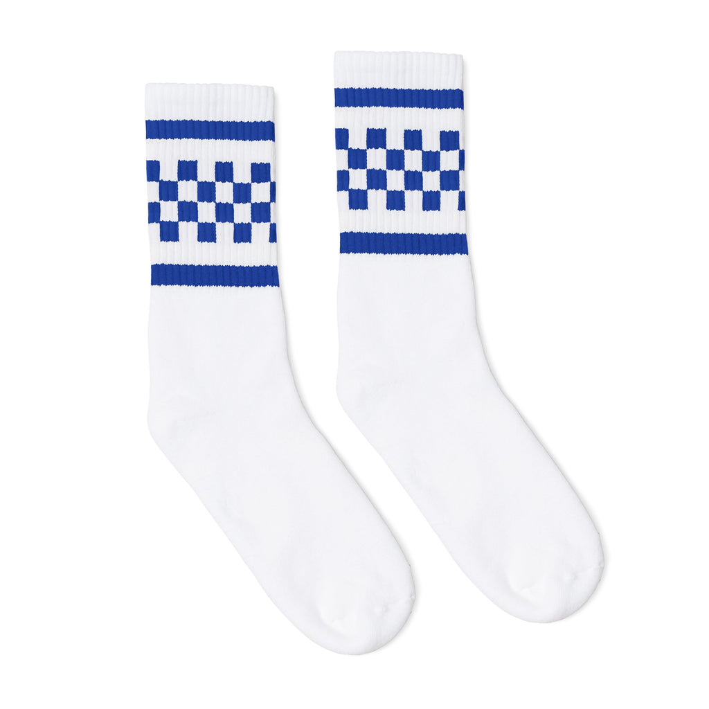 White athletic socks with two royal blue stripes and checkers in between. For men, women and kids.
