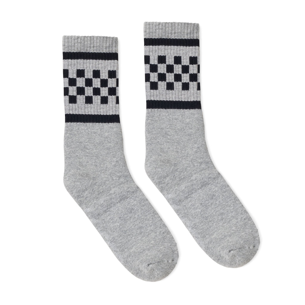 Heather grey athletic socks with two black stripes and checkers in between. For men, women and kids.