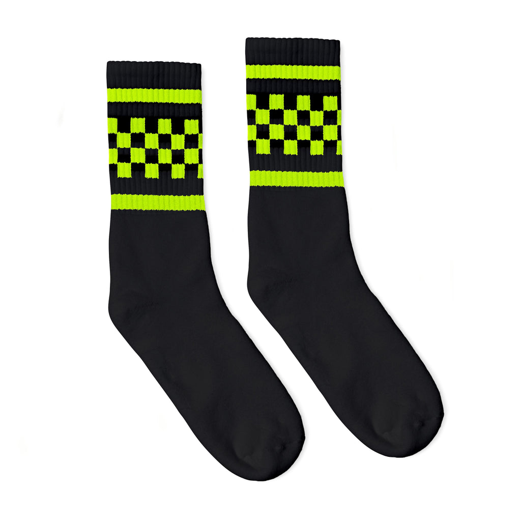 Black athletic socks with two neon stripes and checkers in between. For men, women and kids.