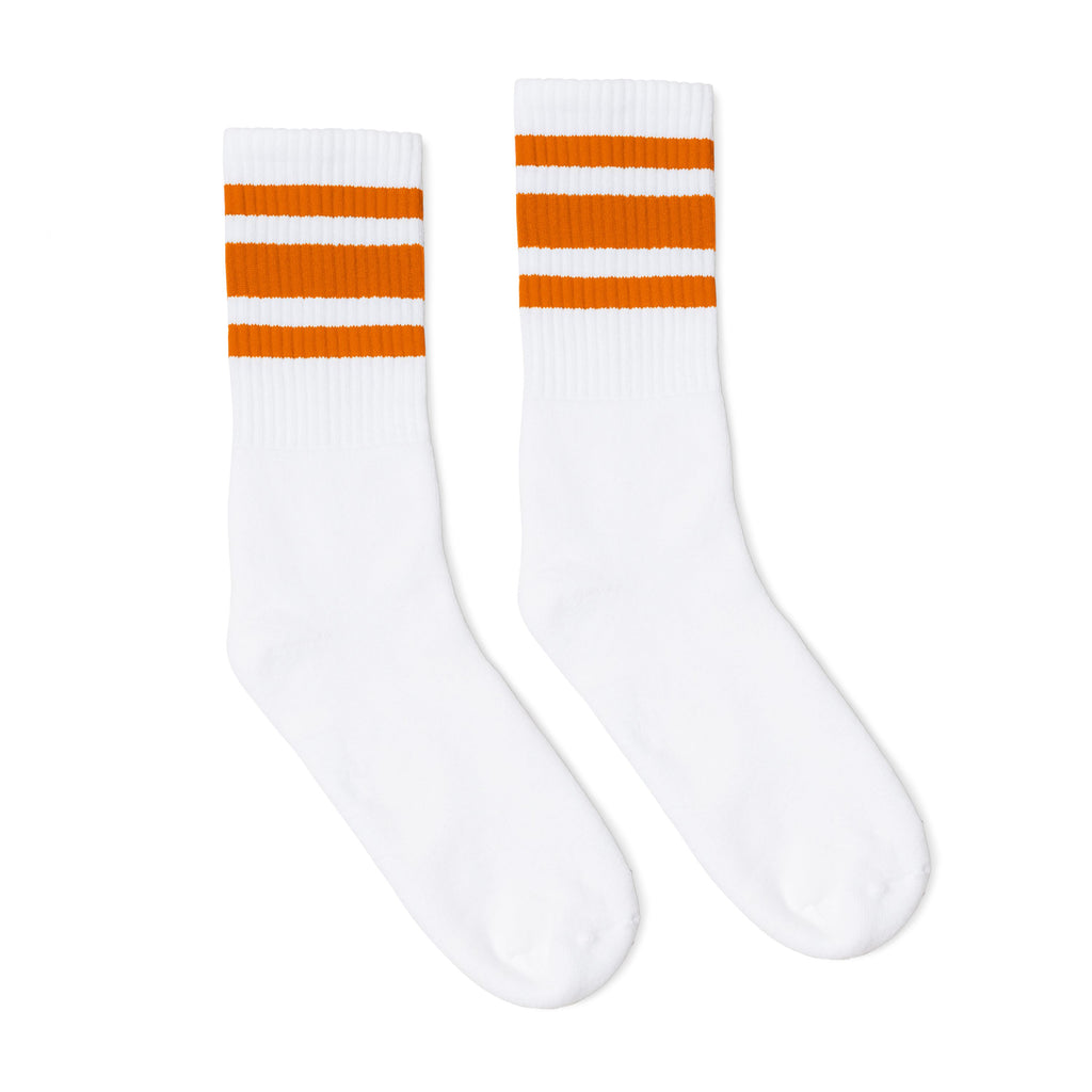 White athletic socks with three orange stripes for men, women and kids.