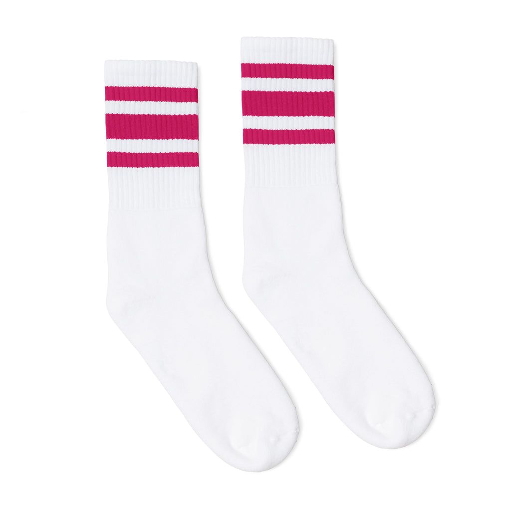 White athletic socks with three fuchsia stripes for men, women and children.