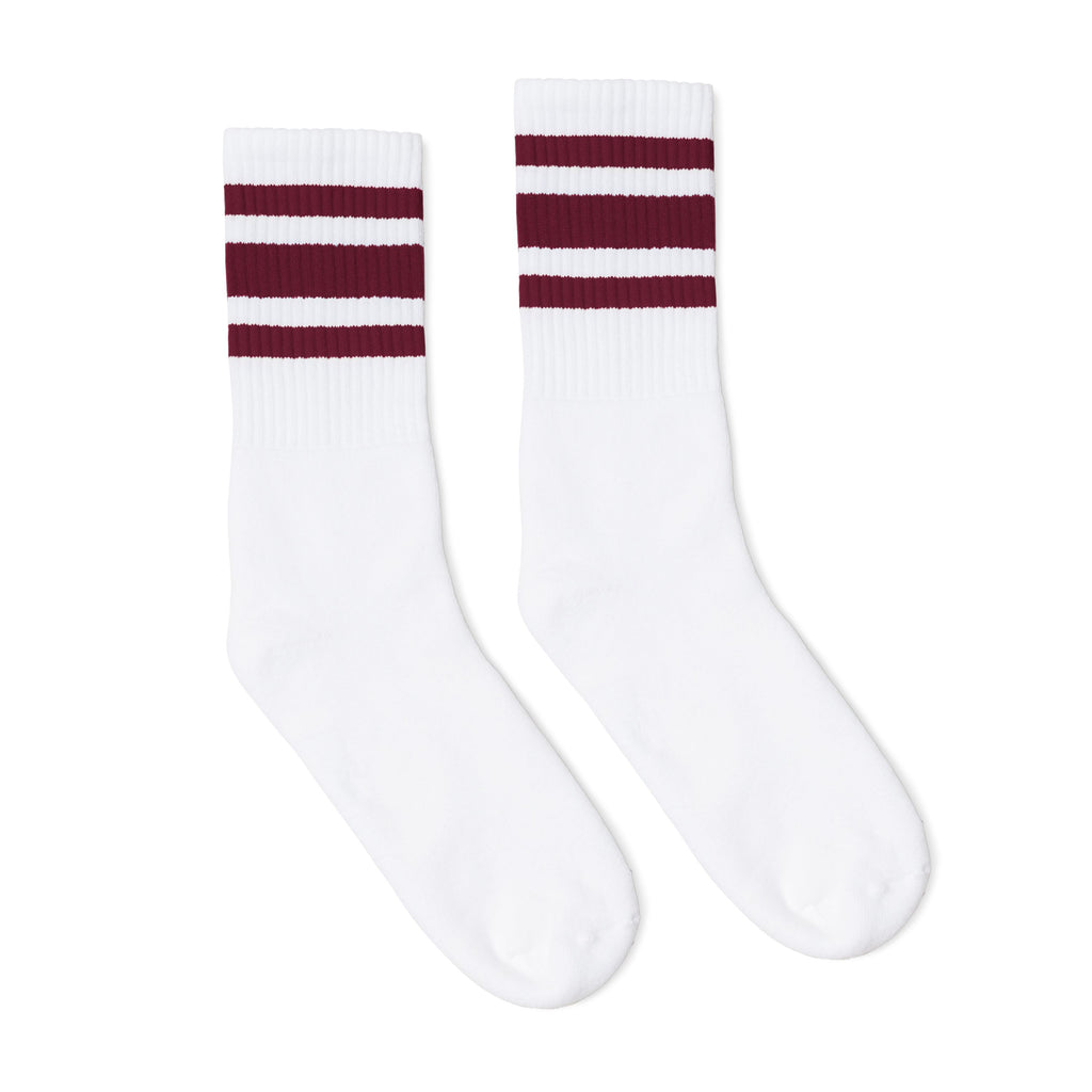 White athletic socks with three maroon stripes for men, women and kids.