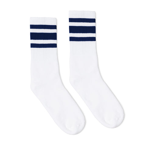 Navy Striped Socks I White