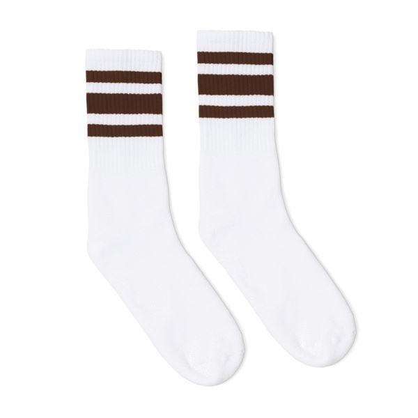 White athletic socks with brown stripes for men, women and children