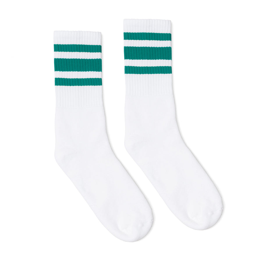 White athletic socks with three teal stripes for men, women and kids.