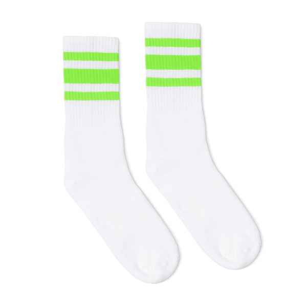 White athletic socks with green neon stripes for safety.