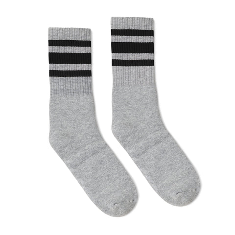 Black Striped Socks | Heather Grey