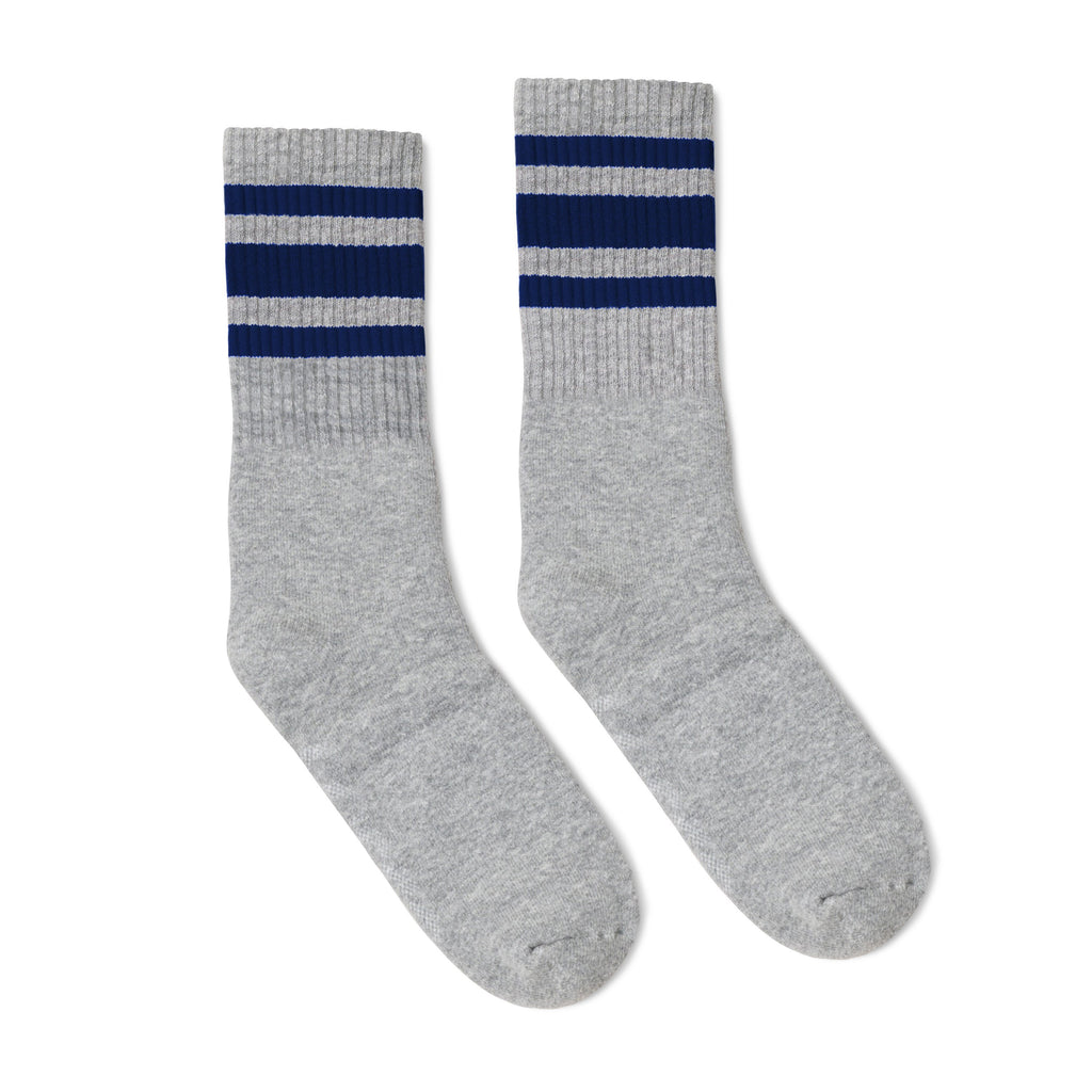 Grey athletic socks with three navy stripes for men, women and kids.