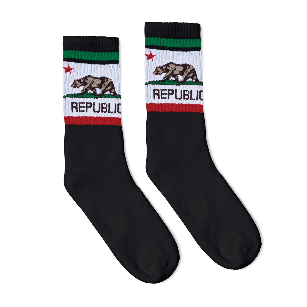 Black athletic socks with a California bear logo in white, brown, red and green. Socks for men, women and children.