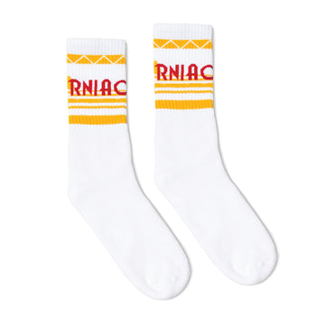 White athletic socks with California text in red and yellow stripes. For men, women and kids.
