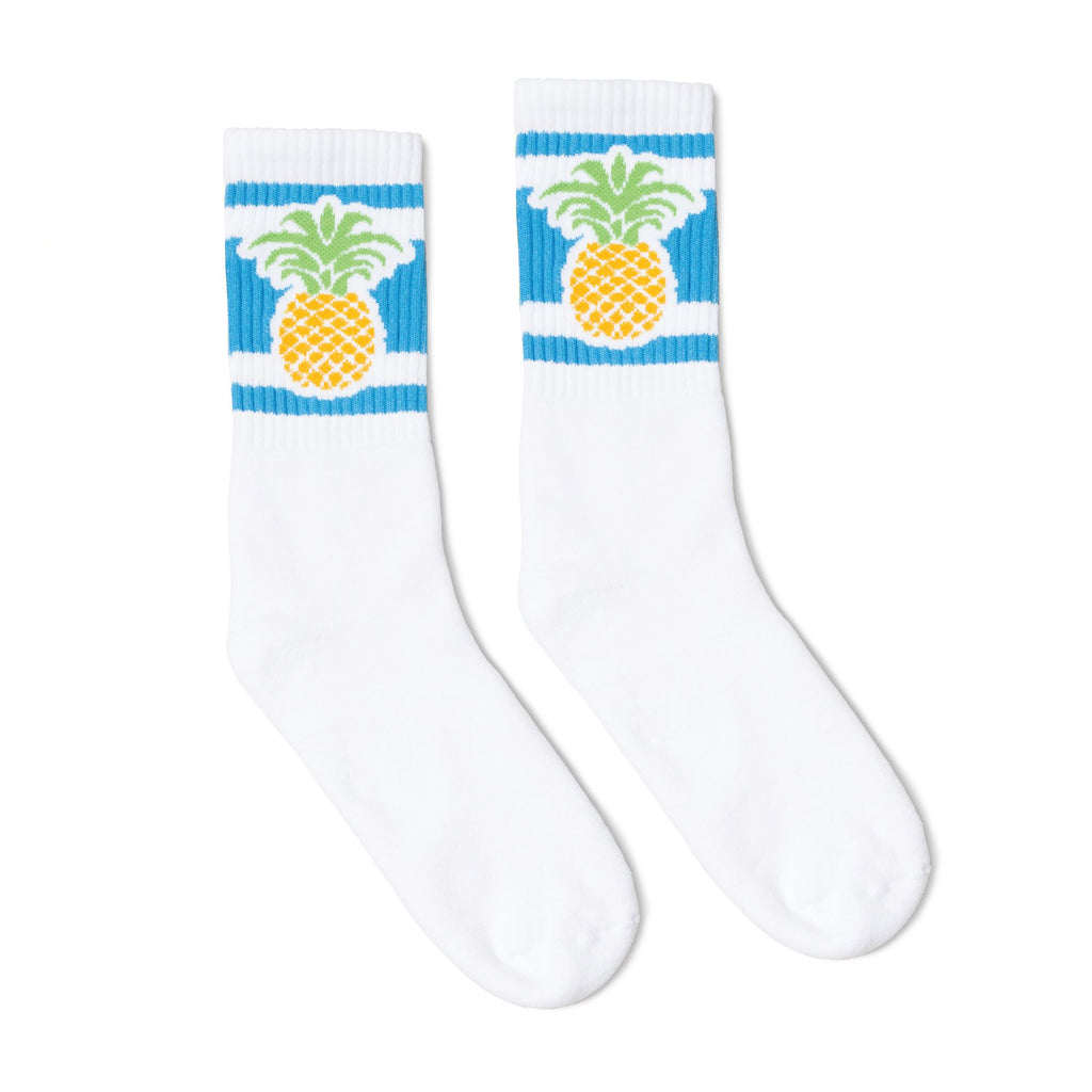 White socks with blue stripes and a pineapple image for men, women and kids.