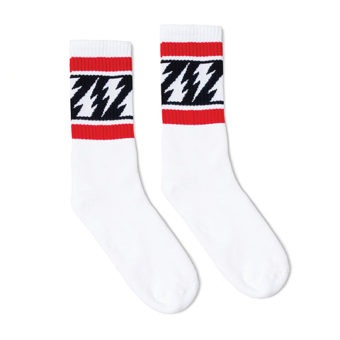SOCCO x Mike Vallely Lightning Bolt Socks | White
