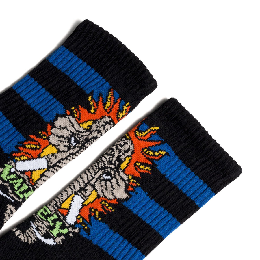 Black socks with three blue stripes and a cartoon woolly mammoth logo for Mike Vallely.