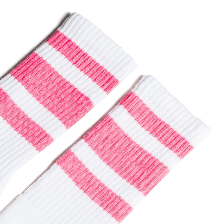 White athletic socks with three pink stripes for men, women and kids.