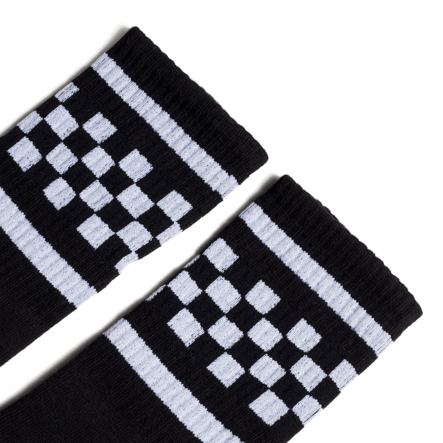 Black athletic socks with two white stripes and checkers in between. For men, women and kids.