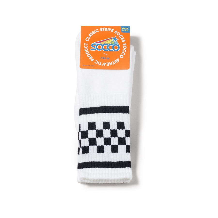 White athletic socks with two black stripes and checkers in between. For men, women and kids.