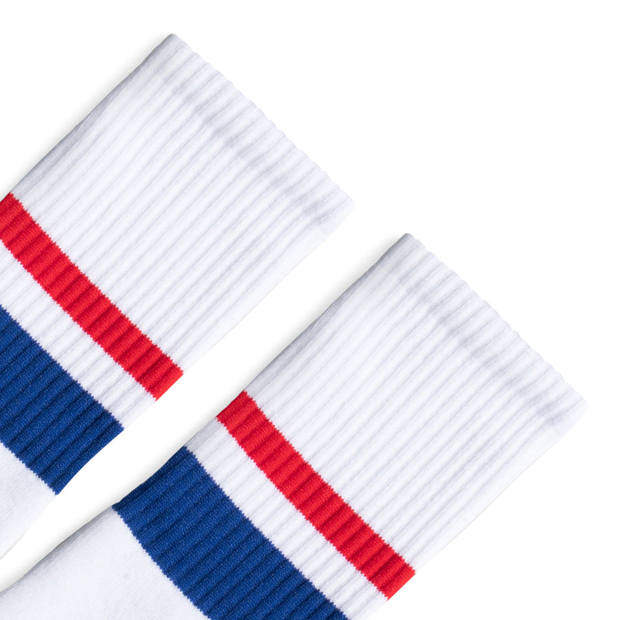 Thin & Thick 2-Stripe Red & Blue | White