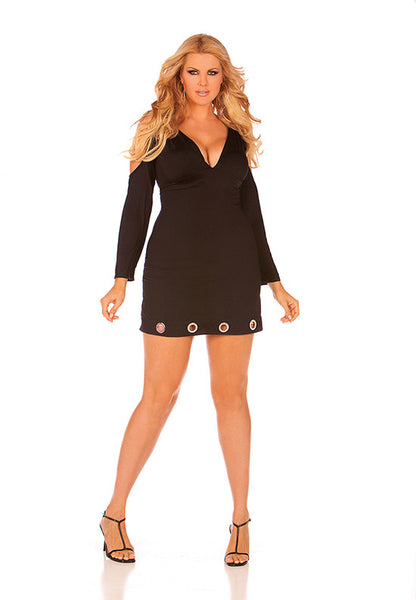 Long Sleeve V Neck Dress - Plus Size