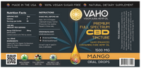 mango 1500mg Nano Enhanced CBD tincture label