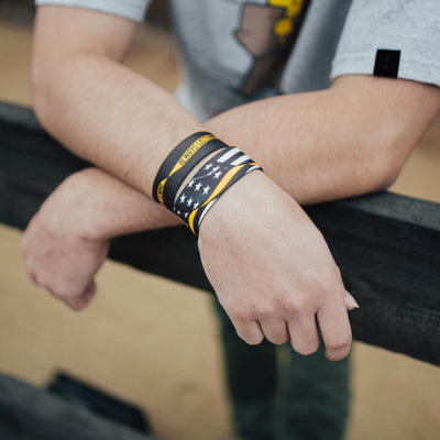 Lifestyle image: close up of two Always Listening straps on man's wrist