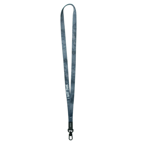 A product image of a ZOX lanyard showing the back of the design with a black colored metal clip. The lanyard is called and says I Got This and the design is a grayscale version of the front design which is a sort of paint splatter