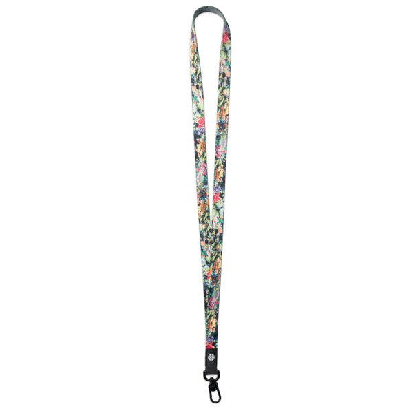 A product image of a ZOX lanyard showing the front of the design with a black colored metal clip. The lanyard is called Stronger With Every Struggle and the design is a photo of a coral reef that has different shades of green, pink, blue, purple and orange