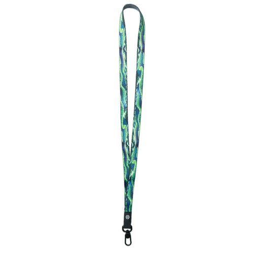 A product image of a ZOX lanyard showing the front of the design with a black colored metal clip. The lanyard is called Live In the Moment and the design is a a blue and green painting of the northern lights