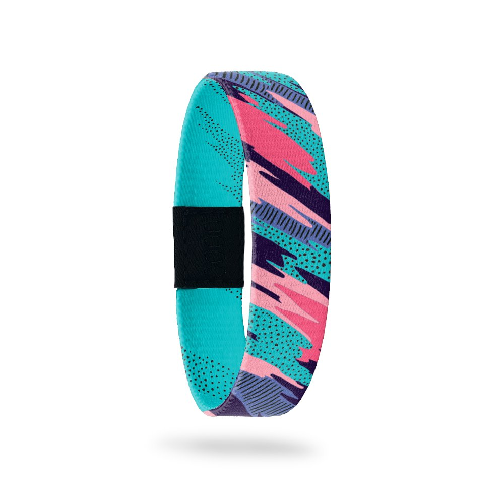Outside Design of Be You, Bravely: fluid dark pink, light pink, dark purple, light purple, and teal design with black geometric designs added in