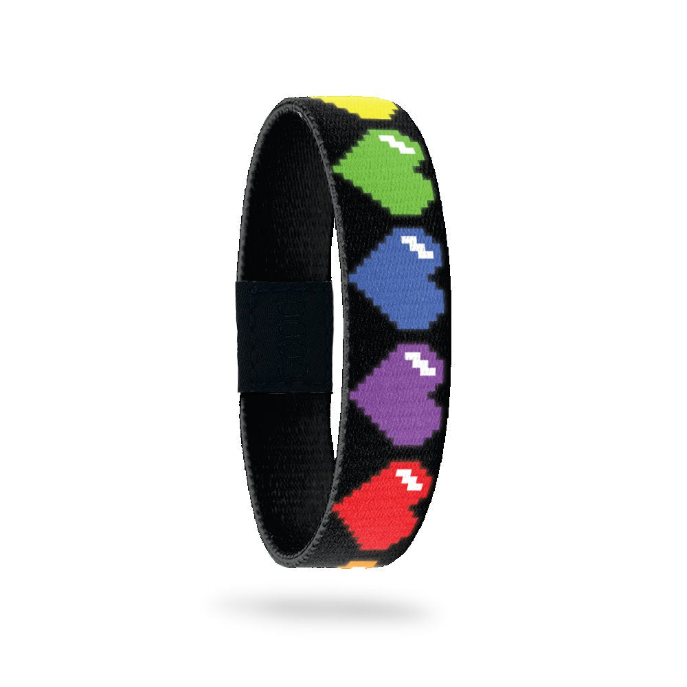 Outside Design of Just Love: black background with rainbow 8-bit digital hearts