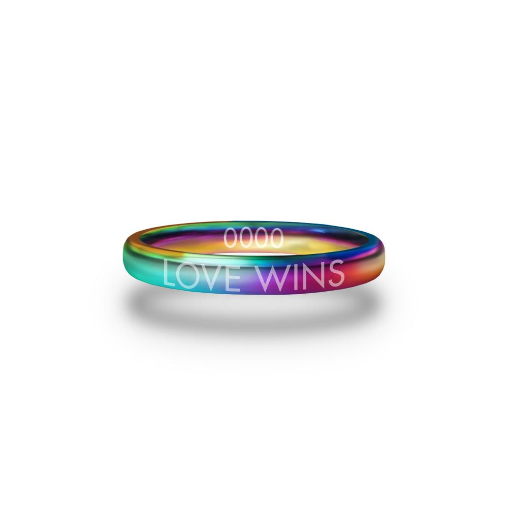 Front design of Love Wins multicolor ring with sketched in text 'Love Wins'