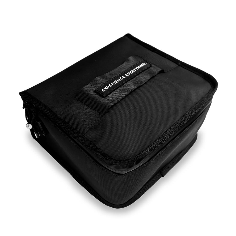 product image of a black lunch box showing the top and side of it