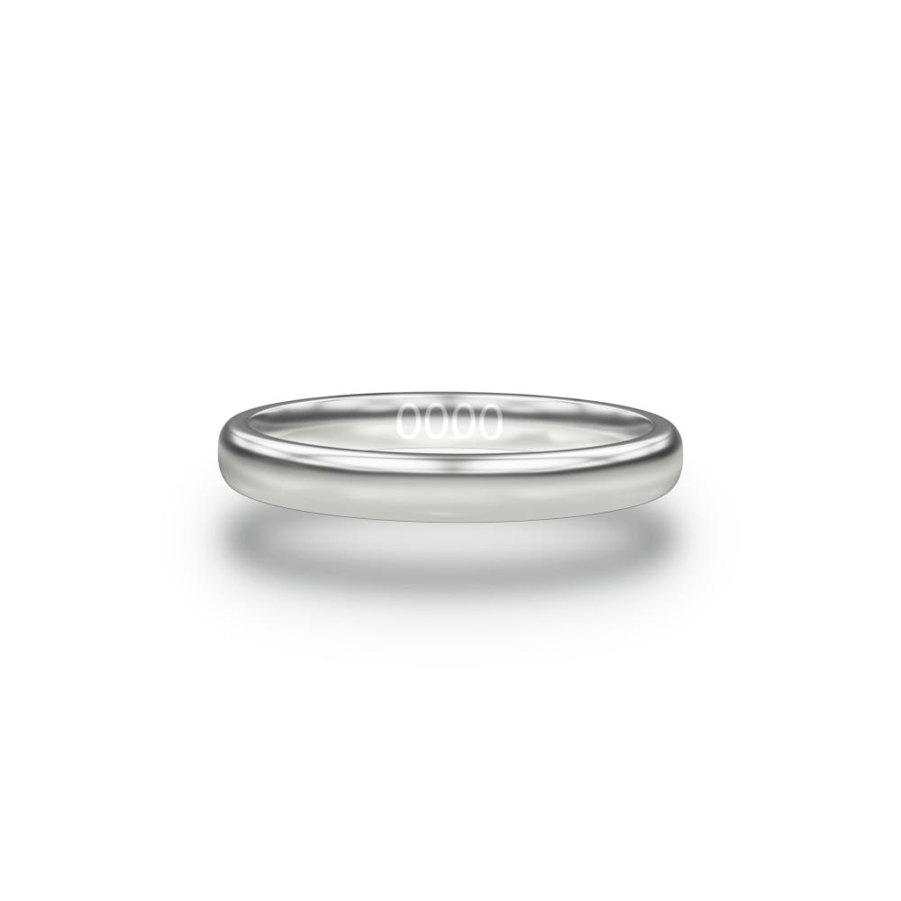 Inside design of silver ring with sketched in text inside of serial number