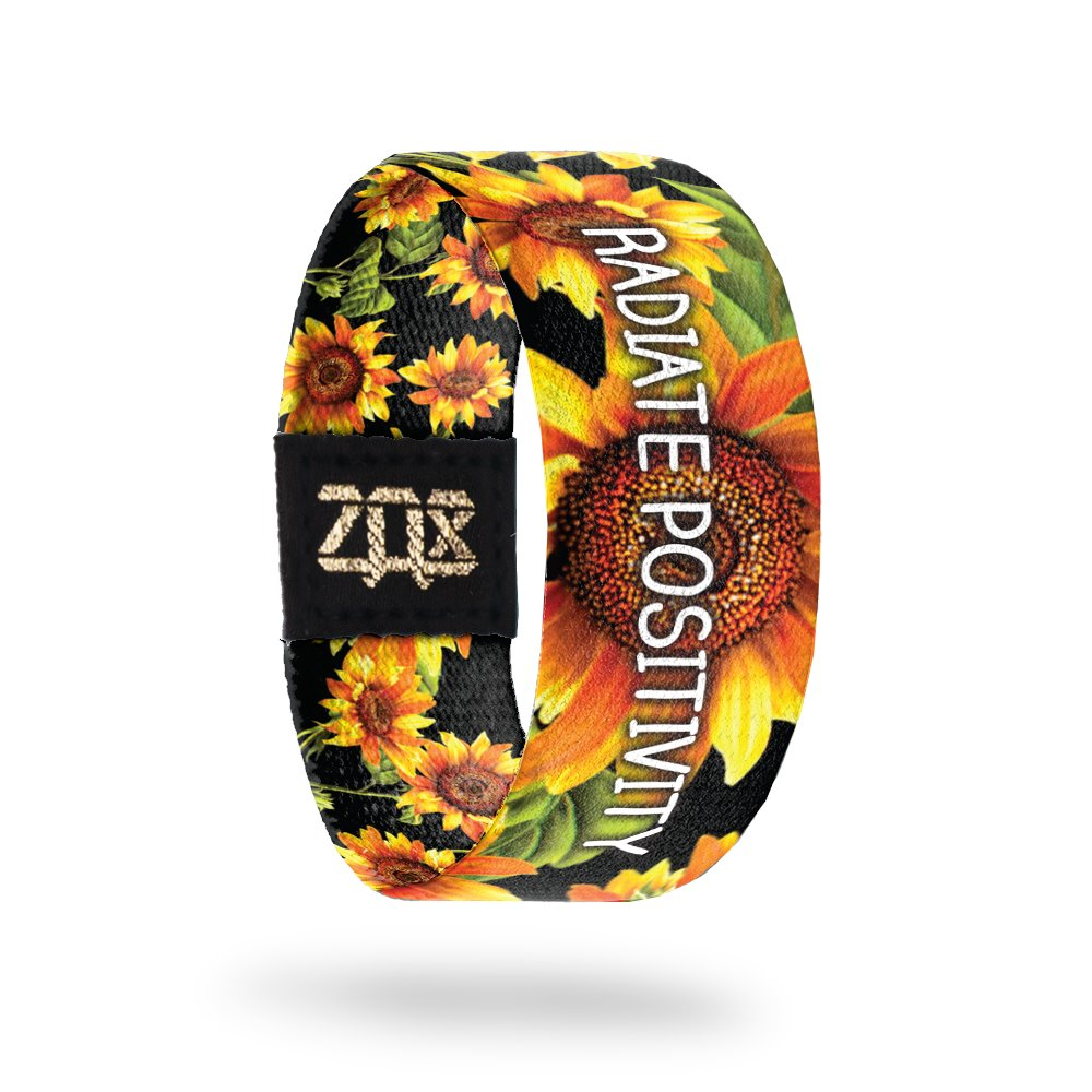 Large ZOX Silver Strap RADIATE POSITIVITY Wristband with Card Reversible