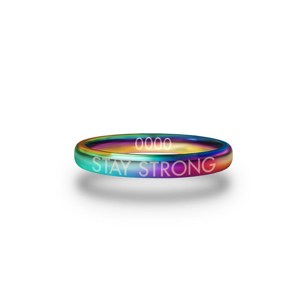 Front design of Stay Strong multicolor ring with sketched in text 'Stay Strong'