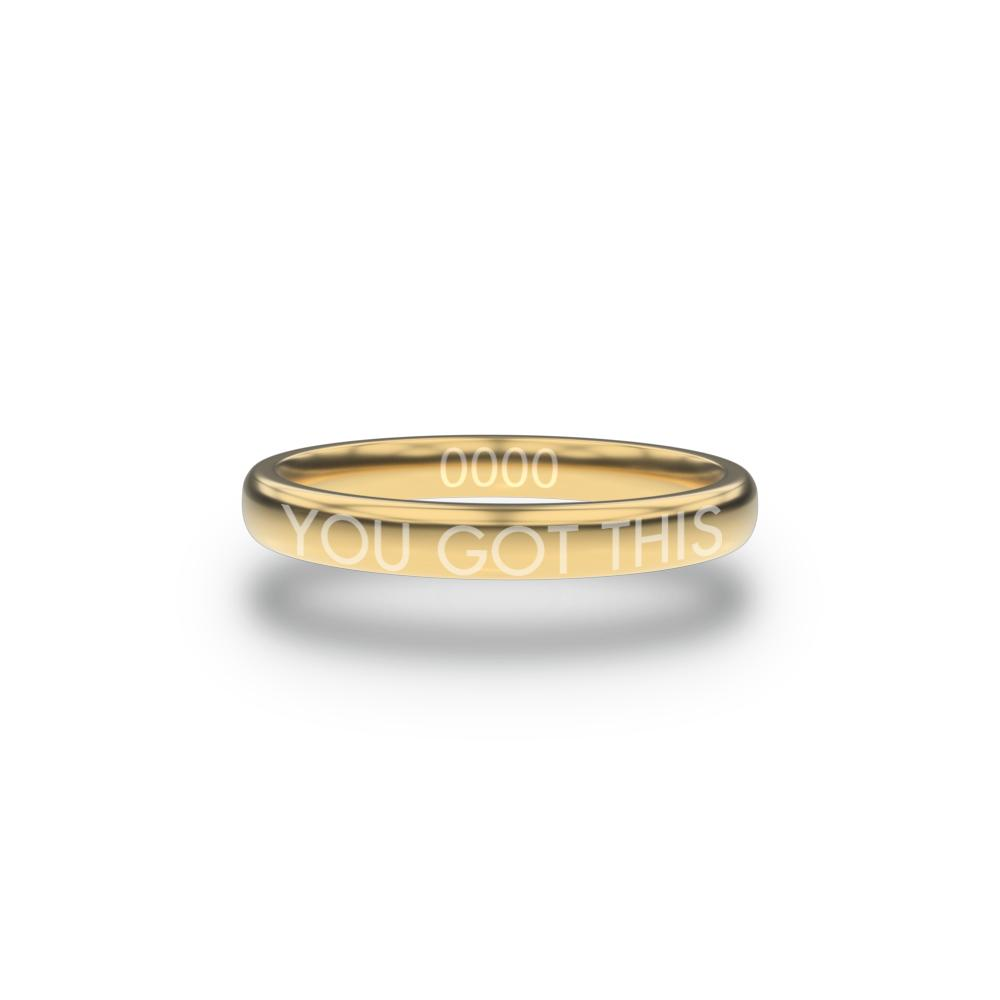 Front design of You Got This gold ring with sketched in text 'You Got This'