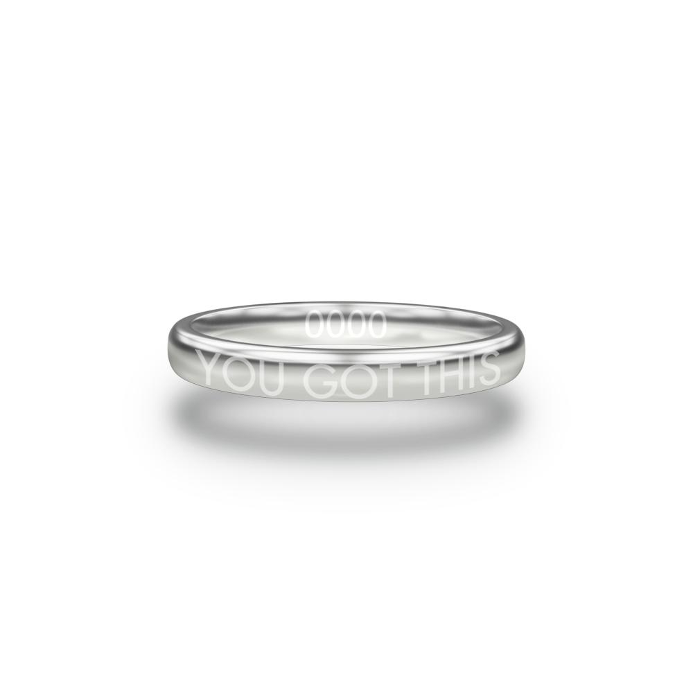Front design of You Got This silver ring with sketched in text 'You Got This'