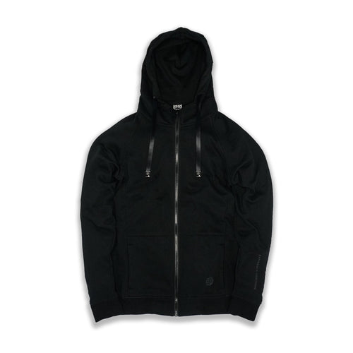 This is an image of a black zipper  Imperial hoodie that has black interchangeable strings going through the hood