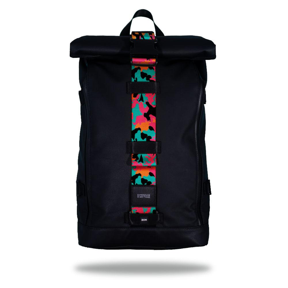 Product image of an Imperial backpack showing a wide strap down the center of it that is interchangeable. The closure strap the item that is for sale on this page and is called Fearless and the design is a modern camouflage and is black, orange, pink and blue
