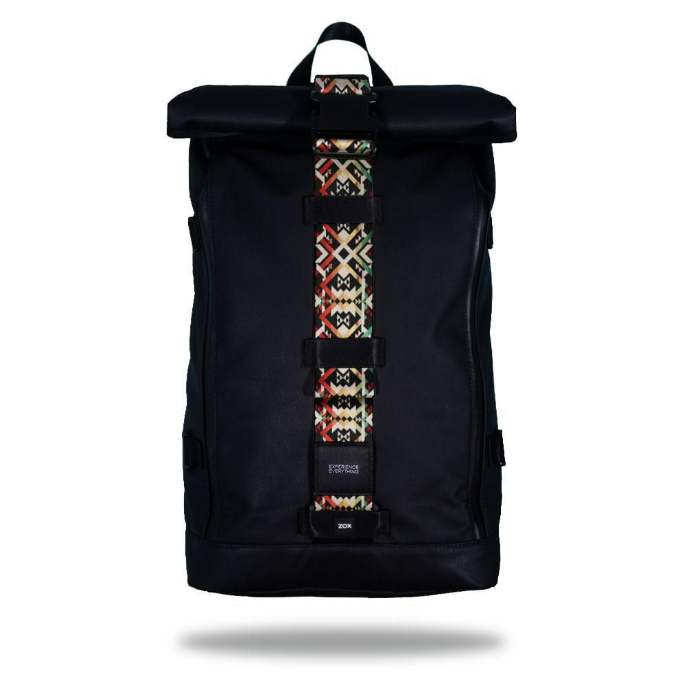 Product image of an Imperial backpack showing a wide strap down the center of it that is interchangeable. The closure strap the item that is for sale on this page and is called Never Surrender. The design is tan, green, and red and is a sort of geometric design