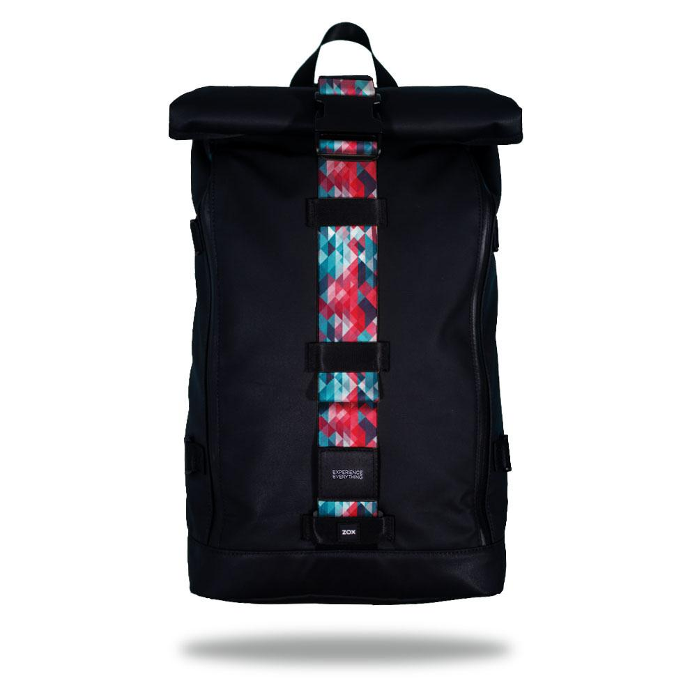 Product image of an Imperial backpack showing a wide strap down the center of it that is interchangeable. The closure strap the item that is for sale on this page and is called Brave and is a light blue, pink, and darker blue triangle geometric pattern