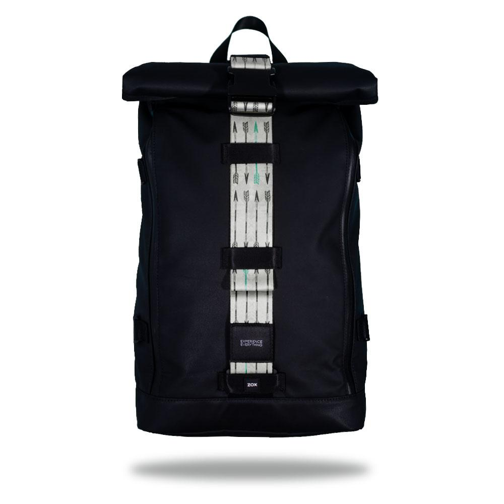 Product image of an Imperial backpack showing a wide strap down the center of it that is interchangeable. The closure strap the item that is for sale on this page and is called Never Give Up. It is a light grey background with a slightly darker geometric design overlay. The top shows arrows in rows that are darker grey with a green arrow every so often
